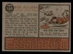 1962 Topps #180 GRN Bob Allison  Back Thumbnail