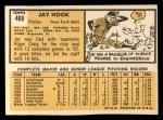1963 Topps #469  Jay Hook  Back Thumbnail