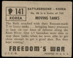 1950 Topps Freedoms War #141   Moving Tanks  Back Thumbnail