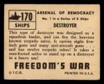 1950 Topps Freedoms War #170   Destroyer  Back Thumbnail