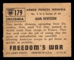 1950 Topps Freedoms War #179   66th Division  Back Thumbnail