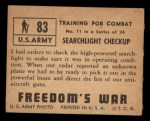 1950 Topps Freedoms War #83   Searchlight Checkup   Back Thumbnail