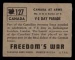 1950 Topps Freedoms War #127   V-E Day Parade  Back Thumbnail