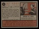 1962 Topps #94  Jay Hook  Back Thumbnail