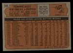 1972 Topps #245  Tommie Agee  Back Thumbnail
