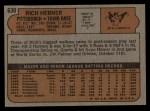 1972 Topps #630  Rich Hebner  Back Thumbnail