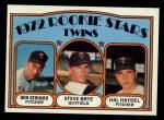 1972 Topps #28   -  Steve Brye / Bob Gebhard / Hal Haydel Twins Rookies  Front Thumbnail
