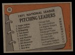 1972 Topps #93   -  Steve Carlton / Fergie Jenkins / Tom Seaver / Al Downing NL Pitching Leaders   Back Thumbnail