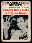 1961 Nu-Card Scoops #435   -   Lew Burdette 3 Wins Front Thumbnail