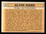 1963 Topps #258  Al Dark  Back Thumbnail