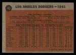 1962 Topps #43   Dodgers Team Back Thumbnail