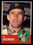 1963 Topps #388 TOU Jim Davenport  Front Thumbnail