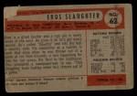 1954 Bowman #62  Enos Slaughter  Back Thumbnail