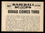 1961 Nu-Card Scoops #467   -   Joe DiMaggio Four Homers Back Thumbnail