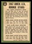 1967 Topps #569   -  Rod Carew / Hank Allen AL Rookies Back Thumbnail