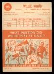 1963 Topps #95  Willie Wood  Back Thumbnail