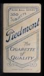 1909 T206 #367  Bob Unglaub  Back Thumbnail