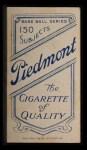 1909 T206 #278  Fred Parent  Back Thumbnail