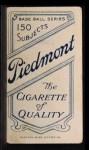1909 T206  Glen Liebhardt  Back Thumbnail