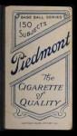 1909 T206  Jake Weimer  Back Thumbnail