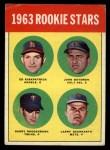1963 Topps #386 *ERR*  -  Ed Kirkpatrick / John Bateman / Garry Roggenburk / Larry Bearnarth Rookies Front Thumbnail