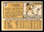 1963 Topps #387 WHT Al McBean  Back Thumbnail