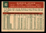 1959 Topps #40 B Warren Spahn  Back Thumbnail