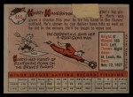 1958 Topps #454  Harry Hanebrink  Back Thumbnail