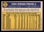 1970 Topps #445  Vada Pinson  Back Thumbnail