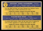 1970 Topps #74   -  Greg Washburn / Wally Wolf Angels Rookies Back Thumbnail