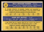 1970 Topps #444   -  John Matias / Bill Farmer White Sox Rookies Back Thumbnail