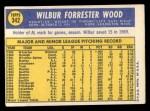 1970 Topps #342  Wilbur Wood  Back Thumbnail