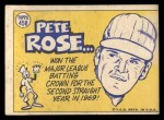 1970 Topps #458   -  Pete Rose All-Star Back Thumbnail