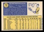 1970 Topps #126  Marty Martinez  Back Thumbnail