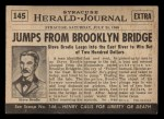 1954 Topps Scoop #145   Brodie Jumps Off Brooklyn Birdge Back Thumbnail