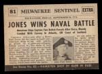 1954 Topps Scoop #81   John Paul Jones Wins Naval Back Thumbnail