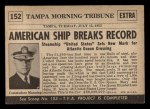 1954 Topps Scoop #152   Ship Sets Speed Record Back Thumbnail