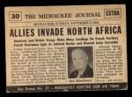 1954 Topps Scoop #30   Landings On North Africa Back Thumbnail