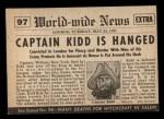 1954 Topps Scoop #97   Captain Kidd Hanged Back Thumbnail