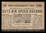 1954 Topps Scoop #139   Air Speed Record Set Back Thumbnail