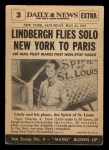 1954 Topps Scoop #3   Lindbergh Flies Atlantic  Back Thumbnail