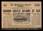 1954 Topps Scoop #63   Morro Castle Burns  Back Thumbnail