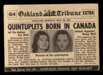 1954 Topps Scoop #64   Quintuplets Born Back Thumbnail