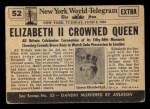 1954 Topps Scoop #52   Queen Elizabeth II Crowned Back Thumbnail