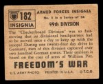 1950 Topps Freedoms War #182   99th Division  Back Thumbnail