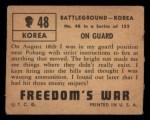 1950 Topps Freedoms War #48   On Guard   Back Thumbnail