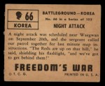 1950 Topps Freedoms War #66   Night Attack   Back Thumbnail