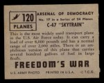 1950 Topps Freedoms War #120   C-47 Skytrain  Back Thumbnail
