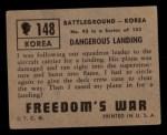 1950 Topps Freedoms War #148   Dangerous Landing  Back Thumbnail