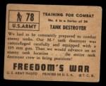 1950 Topps Freedoms War #78   Tank Destroyer   Back Thumbnail